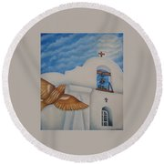 San Elizario On A Moonlit Morning Round Beach Towel