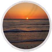 San Eljio Sunset Ca Round Beach Towel