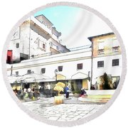 San Felice Circeo Bar And Fountain In The  Square Round Beach Towel