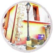 San Felice Circeo Chairs And Street Lamp Round Beach Towel