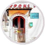 San Felice Circeo Door Of The School Round Beach Towel