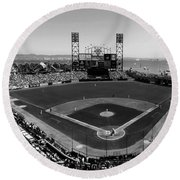 San Francisco Ballpark Bw Round Beach Towel