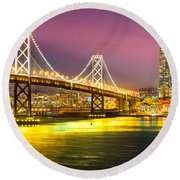 San Francisco - Bay Bridge Round Beach Towel