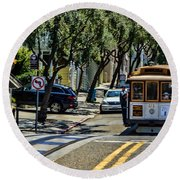 San Francisco, Cable Cars -1 Round Beach Towel