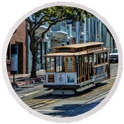 San Francisco, Cable Cars -2 Round Beach Towel