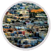 San Francisco California Scenic  Rooftop Landscape Round Beach Towel