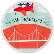 San Francisco California Vertical Scene - Bird In Plane Over San Francisco Round Beach Towel