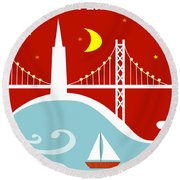San Francisco California Vertical Scene - East Bay Bridge And Boat Round Beach Towel