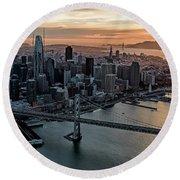 San Francisco City Skyline At Sunset Aerial Round Beach Towel