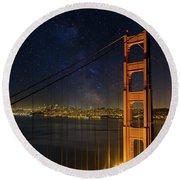 San Francisco City Skyline Through Golden Gate Bridge Round Beach Towel