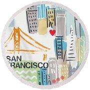 San Francisco Cityscape- Art By Linda Woods Round Beach Towel