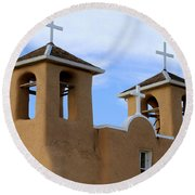 San Francisco De Asis Mission Bell Towers Round Beach Towel