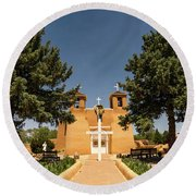 San Francisco De Assisi Mission Church Taos New Mexico 2 Round Beach Towel