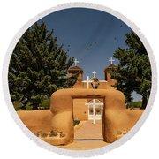 San Francisco De Assisi Mission Church Taos New Mexico Round Beach Towel