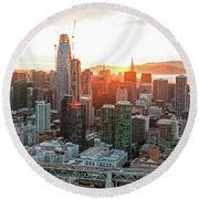 San Francisco Financial District Skyline Round Beach Towel