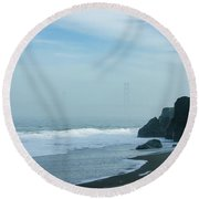 San Francisco Fog - Barely Discernible Golden Gate Bridge From China Beach Round Beach Towel