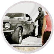 San Francisco Museum Of Art, Frank Bullitt, Steve Mcqueen, Ford Mustang Gt 390, Fastback Round Beach Towel