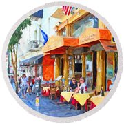 San Francisco North Beach Outdoor Dining Round Beach Towel