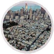 San Francisco Skyline And Coit Tower Round Beach Towel