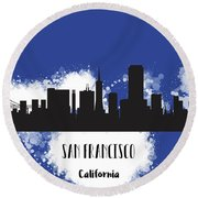 San Francisco Skyline Silhouette Round Beach Towel