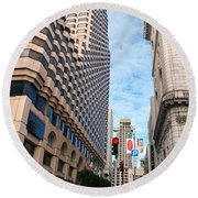 San Francisco Street View - Parc 55  Round Beach Towel
