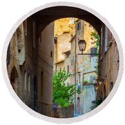 San Gimignano Archway Round Beach Towel by Inge Johnsson