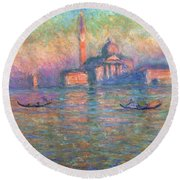 San Giorgio Maggiore Venice Round Beach Towel by Claude Monet