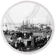 San Juan Harbor - Puerto Rico - C 1900 Round Beach Towel