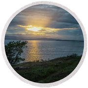 San Juan Island Sunset Round Beach Towel