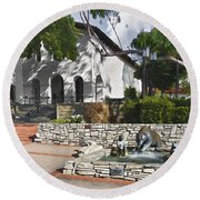 San Luis Mission Fountain Round Beach Towel
