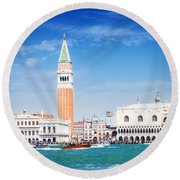 San Marco Square Waterfront Round Beach Towel