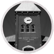 San Miguel County Courthouse Round Beach Towel