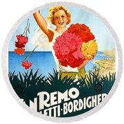 San Remo, Italian Riviera, Girl With Flowers Round Beach Towel
