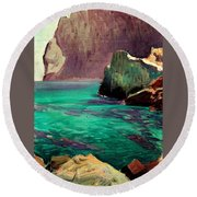 San Vicente Cove Mallorca Round Beach Towel