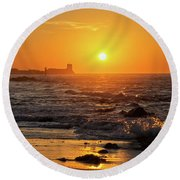 Sancti Petri Castle At Sunset San Fernando Cadiz Spain  Round Beach Towel