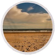 Sand And Clouds Round Beach Towel