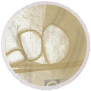 Sand And Stone 1- Contemporary Abstract Art By Linda Woods Round Beach Towel