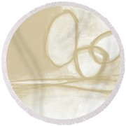 Sand And Stone 6- Contemporary Abstract Art By Linda Woods Round Beach Towel