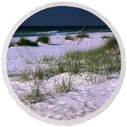 Sand Beach And Grass Round Beach Towel
