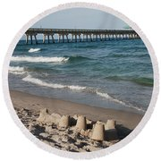 Sand Castles And Piers Round Beach Towel