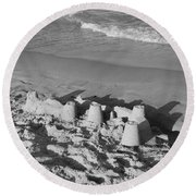 Sand Castles By The Shore Round Beach Towel