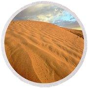Sand Dune At Great Sand Hills In Scenic Saskatchewan Round Beach Towel