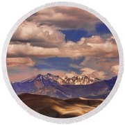 Sand Dunes - Mountains - Snow- Clouds And Shadows Round Beach Towel