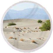 Sand Dunes Plants Hills Round Beach Towel