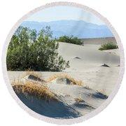 Sand Dunes, Plants, Mountains Round Beach Towel