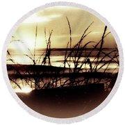 Sand Dunes Sunset Round Beach Towel