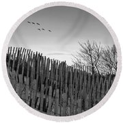 Dune Fences - Grayscale Round Beach Towel