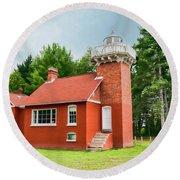 Sand Point Lighthouse - Baraga Round Beach Towel
