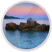 Sand Rocks In The Sea At Sunset Round Beach Towel