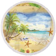 Sand Sea Sunshine On Tropical Beach Shores Round Beach Towel